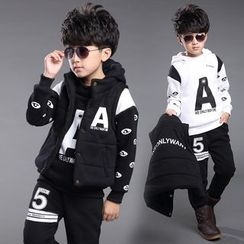 Pegasus - Kids Set : Letter Hoodie + Sweatpants + Jacket