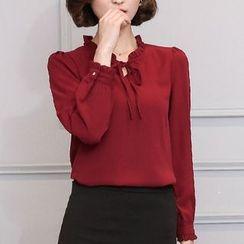 Fashion Street - Frill Collar Tie Neck Long Sleeve Chiffon Blouse