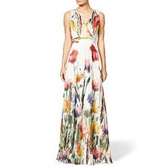 Fashion Street - Sleeveless Floral Maxi  Dress