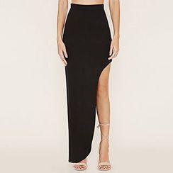 Richcoco - Plain Asymmetric Skirt