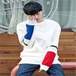 TOMONARI - Color-Block Cotton Sweatshirt