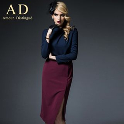 Aision - Set: Long-Sleeve Rhinestone Top + Slit Pencil Skirt