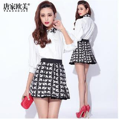 Tang House - Set: Print Collar Shirt + A-Line Skirt