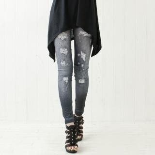 Cookie 7 - Distressed Print Denim Leggings