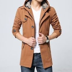 Bay Go Mall - Detachable Hood Single-Breasted Jacket