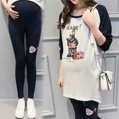 GESTA - Maternity Set: Long-Sleeve Printed T-Shirt + Leggings