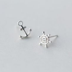 A'ROCH - 925 Sterling Silver Non Matching Anchor Earrings