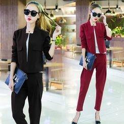 belle epoque - Set: Plain Open Front Jacket + Plain Tapered Pants