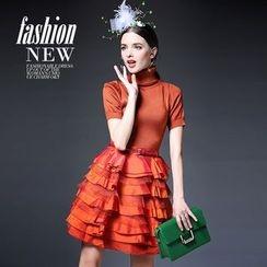 歐依潮派 - 短袖羊毛混紡高領拼接連衣裙