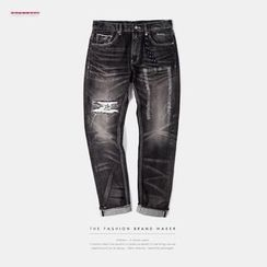Newin - Distressed Straight-Fit Jeans