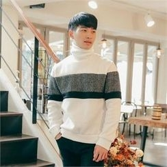STYLEMAN - Fleece-Lined Color-Block Turtle-Neck Sweater