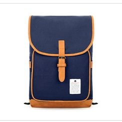 Mr.ace Homme - Contrast Trim Canvas Backpack