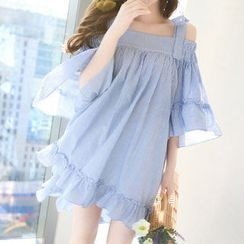 Marlangrouge - 3/4-Sleeve Frilled Mini Dress with Sash