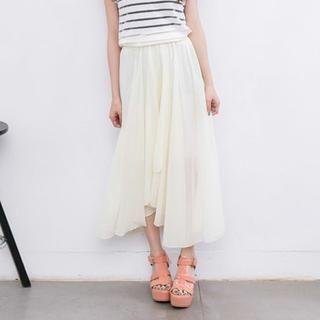 Lucky Leaf - Asymmetric-Hem Chiffon Maxi Skirt