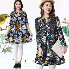 Diosa - Long-Sleeve Printed A-Line Dress