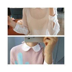 LEELIN - Lace Collar Button-Back Blouse