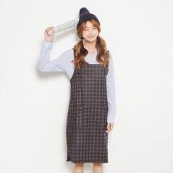 SUYISODA - Plaid Jumper Dress