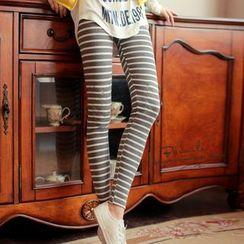 Little Flower - Embroidered Stripe Leggings