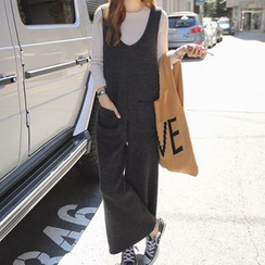 Fashion Street - Plain Woolen Pinafore Jumpsuit