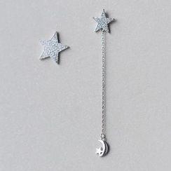 A'ROCH - 925純銀星星不對稱耳環