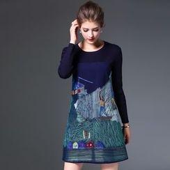 Elabo - Embroidered Long-Sleeve Dress