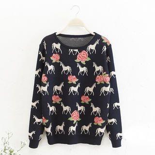 JVL - Horse & Rose Patterned Sweater