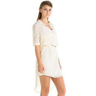 59 Seconds - Sheer Dip-Back Dress (Belt not Included)