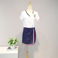 AIGIL - Set: Short-Sleeve Embroidered T-Shirt + Skirt