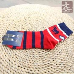 YIDESIMPLE - Deer-Print Striped Socks
