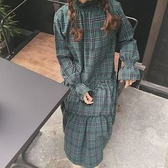 Dute - Plaid Long Sleeve Tiered Dress