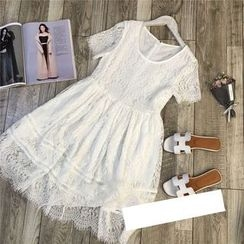 AIGIL - Short-Sleeve Lace Dress