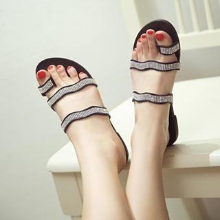 QQ Trend - Rhinestone Toe Loop Sandals