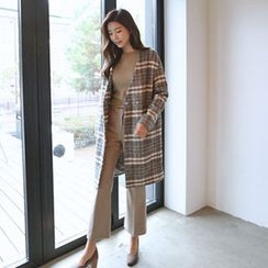 Hello sweety - Collarless Plaid Coat