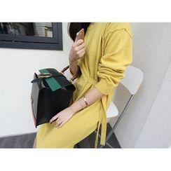 MARSHMALLOW - Tie-Waist Wool Blend Knit Dress