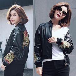 HAZEL - Embroidery Faux-Leather Jacket