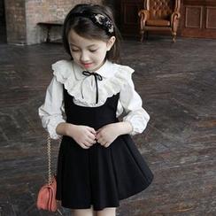 Cuckoo - 小童荷叶边领拼接上衣 / + 吊带连衣裙