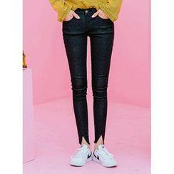 icecream12 - Cutout-Hem Skinny Jeans