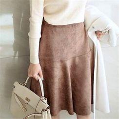 YOOM - Faux-Suede A-Line Midi Skirt