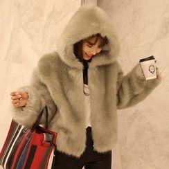 DABAGIRL - Zip-Up Faux-Fur Hoodie
