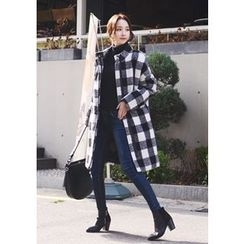 DEEPNY - Zip-Up Check Long Coat