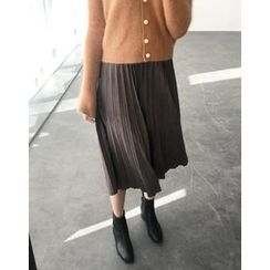 UPTOWNHOLIC - Faux-Suede Pleated Long Skirt
