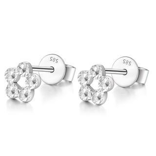 MaBelle - 14K Italian White Gold Tiny Flower With Diamond Cut Stud Earrings, Women Girl Jewelry in Gift Box
