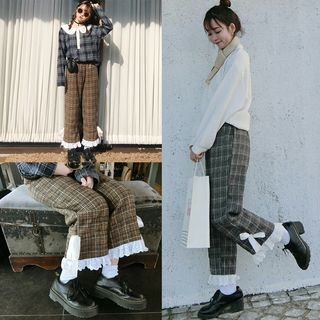 AMELA - Lace Hem Plaid Straight Cut Pants