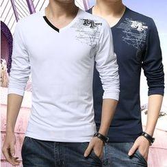 Alvicio - Paneled Long Sleeve T-Shirt