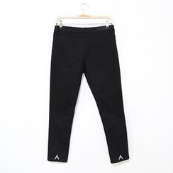 Mr. Cai - Embroidery Slim-Fit Pants