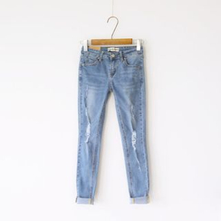 Bonbon - Distressed Tapered Jeans