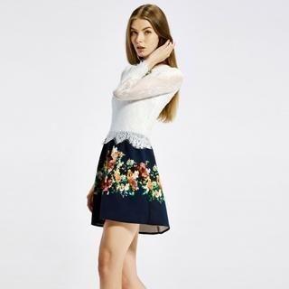 O.SA - Lace-Panel Floral A-Line Dress