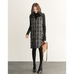 UPTOWNHOLIC - Fringed-Trim Tweed Dress