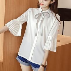 AMELA - 3/4 Sleeve Tie Neck Chiffon Shirt