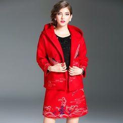 Elabo - Set: Embroidered Hooded Jacket + Skirt